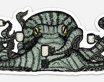 BellavanceInk: Octopus With Mugs Of Coffee Vinyl Sticker Pen and Ink Illustration