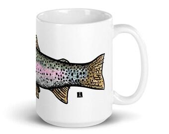 BellavanceInk: White Coffee Mug With Rainbow Trout Fish