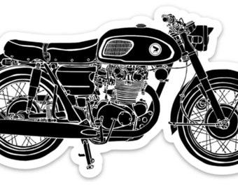 BellavanceInk: The Black Bomber Cafe Racer Motorcycle Vinyl Sticker Illustration