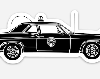 BellavanceInk: Vintage State Police Cruiser Vinyl Sticker Hand Drawn Illustration