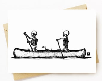 BellavanceInk: Greeting Card With Skeletons Canoeing Down The River Styx 5 x 7 Inches
