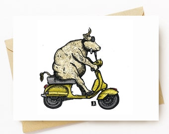 BellavanceInk: Greeting Card With Cow Riding A Vintage Scooter 5 x 7 Inches