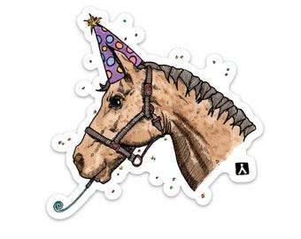 BellavanceInk: Party Horse Ink/Watercolor Style Vinyl Sticker Illustration