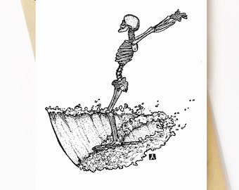 BellavanceInk: Greeting Card With Skeleton Surfing On His Longboard 5 x 7 Inches