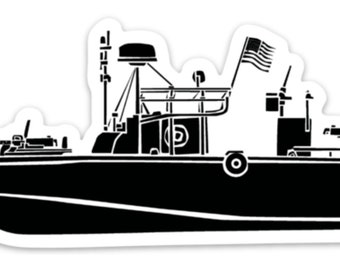 BellavanceInk: Vintage River Patrol Boat Vinyl Sticker Illustration