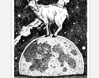 BellavanceInk: Pen & Ink Sketch Cosmic Goat Sticker Pen and Ink Illustration