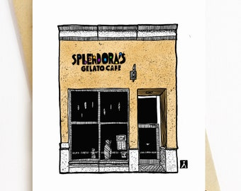 BellavanceInk: Greeting Card With A Pen & Ink Drawing Of Splendora's Gelato Cafe In Charlottesville  5 x 7 Inches