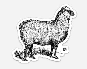 BellavanceInk: Proud Sheep Pen And Ink Illustration On A Vinyl Sticker