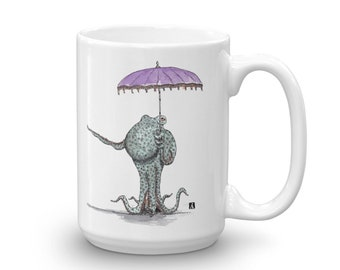 BellavanceInk: Coffee Mug With Octopus Holding an Umbrella/Parasol Pen & Ink Sketch