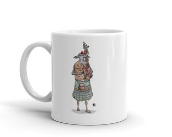 BellavanceInk: Coffee Mug With Scottish Highland Sheep Playng The Bagpipes Watercolor/Pen & Ink Sketch