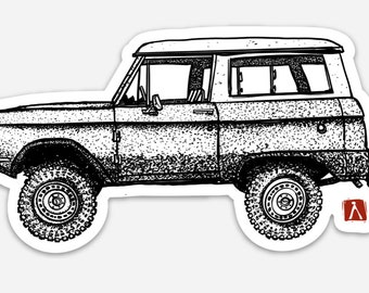 BellavanceInk: Vintage Bronco Truck Vinyl Sticker Hand Drawn Illustration