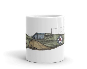 BellavanceInk: Coffee Mug With A P40 Warhawk Flying Tigers Pen & Ink Sketch With Watercolor