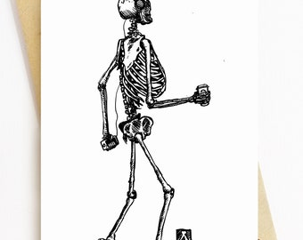 BellavanceInk: Greeting Card With Skeleton Grooving Down The Road And Drinking His Coffee 5 x 7 Inches