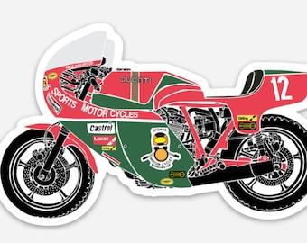 BellavanceInk: Vintage Isle of Man TT Motorcycle Race Bike Vinyl Sticker Illustration