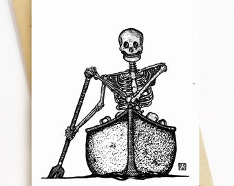 BellavanceInk Skeleton Grooving Down The Street Listening To Music and Drinking A Coffee Vinyl Sticker Hand Drawn Illustration