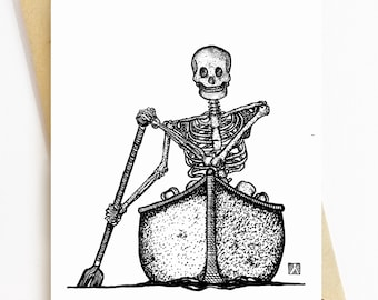 BellavanceInk: Greeting Card With Skeleton Canoeing Down The River Styx 5 x 7 Inches