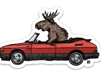 BellavanceInk: Scandinavian Moose Driving A Vintage Saab 900S Vinyl Sticker