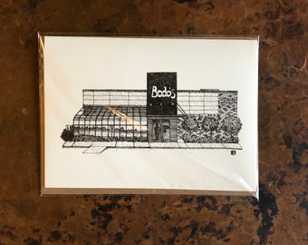 BellavanceInk: Greeting Card With A Pen & Ink Drawing Of Bodos Bagels Restaurant In Charlottesville 5 x 7 Inches