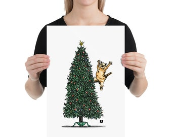 BellavanceInk: Pen & Ink/Watercolor Tabby Cat Attacking Christmas Tree Limited Print