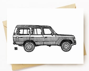 BellavanceInk: Greeting Card With Vintage FJ60 Pen & Ink Illustration 5 x 7 Inches