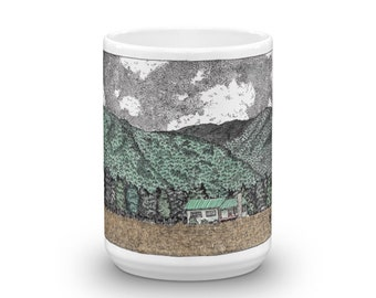 BellavanceInk: Coffee Mug With Pen & Ink Watercolor Sketch Of Crozet House Near The Mountains