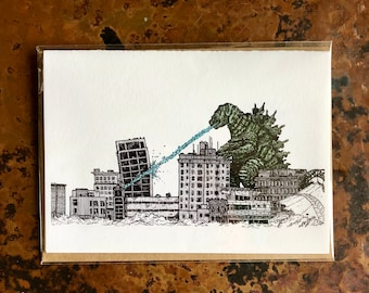 BellavanceInk: Greeting Card With A Pen & Ink Drawing Of Large Monster Attacking the Abandoned Landmark Hotel  5 x 7 Inches
