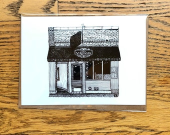 BellavanceInk: Greeting Card With The Charlottesville Restaurant The Virginian 5 x 7 Inches