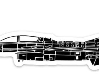 BellavanceInk: Vintage F16 Fighting Falcon Vinyl Sticker Illustration