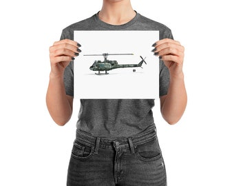 BellavanceInk: Pen & Ink Drawing With Watercolor of a UH-1 Iroquois Huey Helicopter (Limited Prints Also Available)