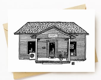 BellavanceInk: Greeting Card With A Pen & Ink Drawing Of Crozet Bicycles Shop 5 x 7 Inches