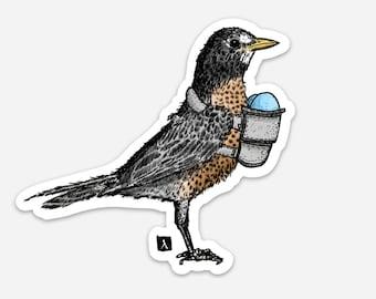 BellavanceInk: American Robin Bird Carrying Her Robin Eggs In Her Baby Shoulder Carrier Pen and Ink Illustration