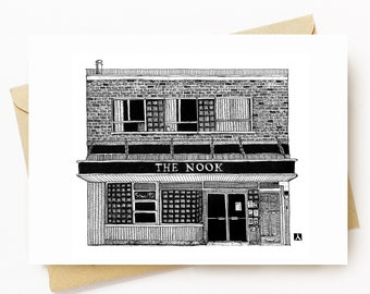 BellavanceInk: Greeting Card With A Pen & Ink Drawing Of The Nook Restaurant Diner In Charlottesville 5 x 7 Inches