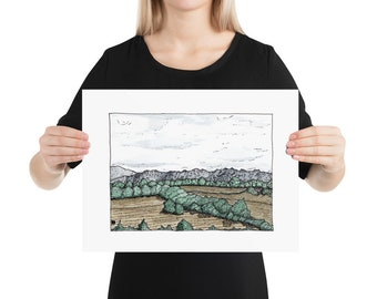 BellavanceInk: Limited print With Pen & Ink Watercolor Sketch Of Farm Near Crozet, Virginia