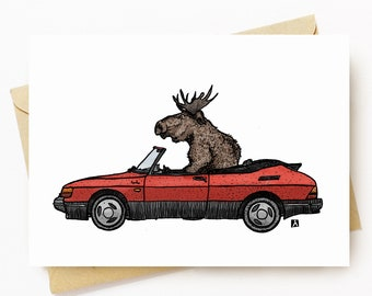 BellavanceInk: Greeting Card Pen & Ink/Watercolor Sketch of a Moose Driving A Vintage Swedish 900S  5 x 7 Inches