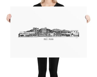 BellavanceInk: Crozet Virginia Skyline With Local Businesses Pen And Ink Drawing