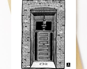 BellavanceInk: Greeting Card of Common House Social Club In Charlottesville, Virginia Pen & Ink Drawing