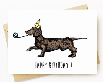 BellavanceInk: Happy Birthday Card With Wiener Dog Dachshund Holding A Birthday Wizzer Graphic 5 x 7 Inches