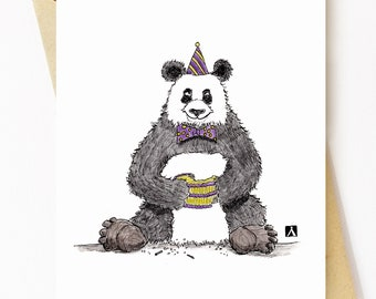 BellavanceInk: Birthday Card With Panda And Birthday Cake Pen & Ink Watercolor Illustration 5 x 7 Inches