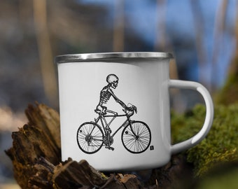 BellavanceInk: Enamel Coffee Mug With Pen & Ink Drawing Of A Skeleton Riding Their Bike Hand Wash Only