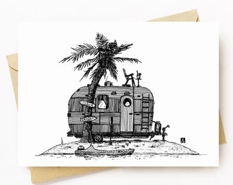 BellavanceInk: Greeting Card With Pen & Ink Drawing of Vintage Trailer On An Deserted Island 5 x 7 Inches