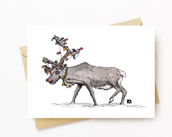 BellavanceInk: Christmas Card With Rudolph The Red Nose Reindeer And His Christmas Lights Pen & Ink Watercolor Illustration 5 x 7 Inches