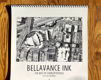 BellavanceInk: Calendar With Pen & Ink Drawings of the Best of Charlottesville Establishments 2020 12 x 12 Inches