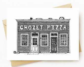 BellavanceInk: Greeting Card With A Pen & Ink Drawing Of The Best Pizza Shop In Charlottesville Crozet Pizza 5 x 7 Inches