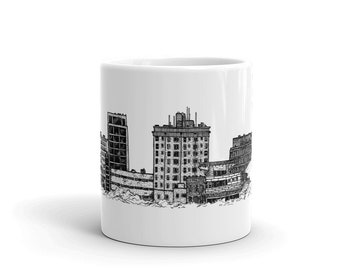 BellavanceInk: Coffee Mug With Pen & Ink Sketch Of The Downtown Charlottesville Pedestrian Mall