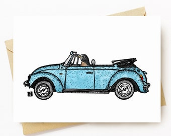 BellavanceInk: Greeting Card With American Robin Driving Around In Her Vintage Bug 5 x 7 Inches