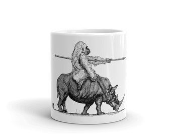 BellavanceInk: Coffee Mug With A Gorilla Riding A War Rhino Pen & Ink Sketch