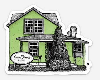 BellavanceInk: Limited Release Green House Coffee Shop in Crozet, Virginia Pen and Ink Illustration