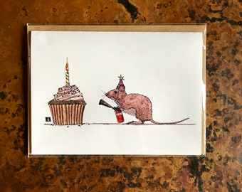 BellavanceInk: Birthday Card With Mouse And Cupcake Pen & Ink Watercolor Illustration 5 x 7 Inches