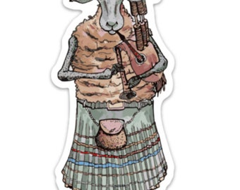 BellavanceInk: Highland Sheep Playing the Bagpipes Vinyl Sticker Pen and Ink Illustration