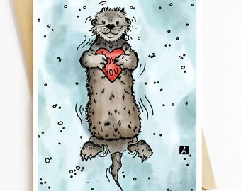 BellavanceInk: Hand Drawn Valentines Day Cards Heart Holding Otter Pen & Ink Watercolor Illustration 5 x 7 Inches